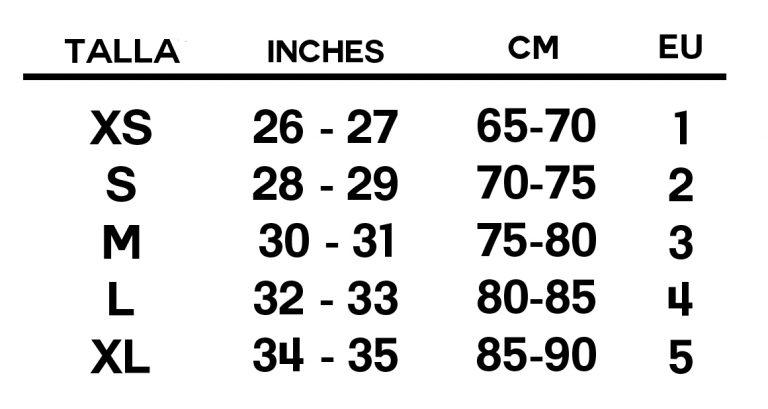 tabla de tallas pothos underwear